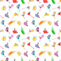 Seamless  pattern with cocktail, glass, wine glass, beer glass, fruits on the white background Royalty Free Stock Photo