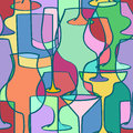Seamless pattern of cocktail glasses colorful in geometric shapes Royalty Free Stock Photos