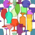 Seamless pattern of cocktail glasses hand drawn colorful transparent Stock Photography