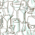 Seamless pattern of cocktail glasses hand drawn transparent Stock Photo