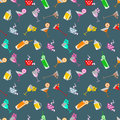 Seamless  pattern with cocktail with glasses with wine, beer, juice and fruits on the blue background Royalty Free Stock Photo