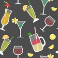 stock image of  Seamless pattern with cocktails, alcoholic drinks