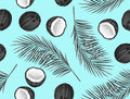Seamless pattern with coconuts. Tropical abstract background in retro style. Easy to use for backdrop, textile, wrapping