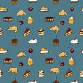 Seamless pattern coffe cakes and croissant background for your design with coffee beans croissants sweet Royalty Free Stock Images