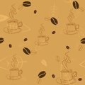 Seamless pattern with coffee beans cups and leaves on light brown background Stock Photos