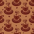 Seamless pattern coffee cups and beans Royalty Free Stock Image