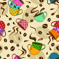 Seamless pattern of coffee cups and beans Royalty Free Stock Photo