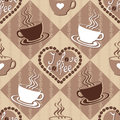 Seamless pattern with coffee cups and decorated hearts and text vector colorful background Royalty Free Stock Photography