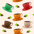 Seamless pattern coffee cups vector this is file of eps format Royalty Free Stock Photos