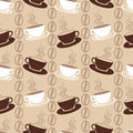 Seamless pattern with coffee cups white and brown vector background ornament beans Stock Images