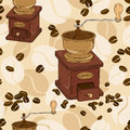 Seamless pattern of coffee grinder and beans Royalty Free Stock Photography