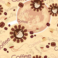 Seamless pattern of coffee logos beans and cups with letters Stock Photography