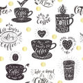 Seamless pattern with coffee quotes.