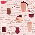 Seamless pattern with coffee related elements items and colorful text Stock Photos