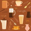 Seamless pattern with coffee related elements and text Royalty Free Stock Photography