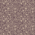 Seamless pattern for coffee theme. Line art draw icons.