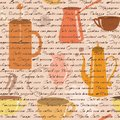 Seamless pattern with coffee types text and items Royalty Free Stock Photo