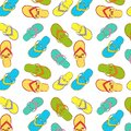 Seamless pattern collection flip flops with a marine pattern: whales, seahorses, shells, fish, crayfish, flip flops Royalty Free Stock Photo