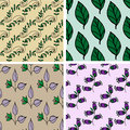 Seamless pattern collection with flowers and leafs