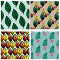 Seamless pattern collection with leaves and branches