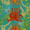 Seamless pattern with collection of marine plants, leaves and seaweed. Retro set of colorful hand drawn marine flora. Vector illus