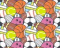 Seamless pattern with collection of Sports Balls Royalty Free Stock Photo