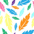 Seamless pattern with color feathers