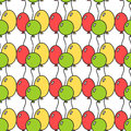 Seamless pattern with colored balloons. Festive background, illustration