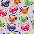 Seamless pattern of colored cats with headphones Stock Photos