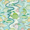 Seamless pattern of a colored fishes on blue background Stock Photography