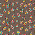 Seamless Pattern of Colored Leaves on Brown Background.