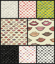 Seamless pattern with colored lips.