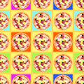 Seamless pattern with colored pizzas on tables.