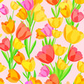 Seamless pattern of colored tulips