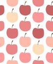 Seamless pattern with colorful apples on white background. Royalty Free Stock Photo