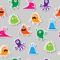 Seamless pattern with colorful appliques monsters
