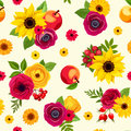 Seamless pattern with colorful autumn flowers. Vector illustration. Royalty Free Stock Photo