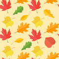 Seamless pattern with colorful autumn leaves on yellow background