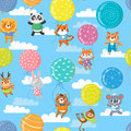 Seamless pattern with colorful balloons and cute animals.