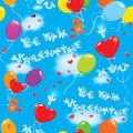 Seamless pattern with colorful balloons teddy bea bears and texts be my valentine i love you on sky blue background clouds Royalty Free Stock Image