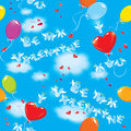 Seamless pattern with colorful balloons and texts be my valentine i love you on sky blue background clouds Royalty Free Stock Photography