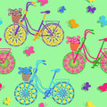Seamless pattern of colorful bicycles floral Royalty Free Stock Photos