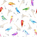 Seamless pattern with colorful bird and branches.