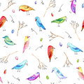 Seamless pattern with colorful bird, egg and branches.