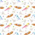 Seamless pattern with colorful bird, nest and branches.