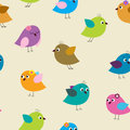 Seamless pattern with colorful birds birds