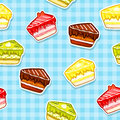 Seamless pattern with colorful cake stickers