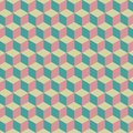 Seamless pattern of colorful cubes. Blue, pink, multicolored cubic background. Royalty Free Stock Photo