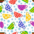 Seamless pattern with colorful cups and bubbles Stock Image