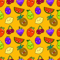 Seamless pattern colorful cute fruits characters Kawaii. apple, pear, strawberry, orange, banana, watermelon, pineapple Royalty Free Stock Photo